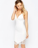AX Paris Plunge Front Bodycon Dress with V lace Hem