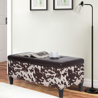Adeco Fabric Sturdy Tufted Lift Top Storage Ottoman Bench Footstool