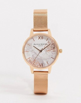 Olivia Burton OB16VM11 Abstract florals rose gold mesh watch