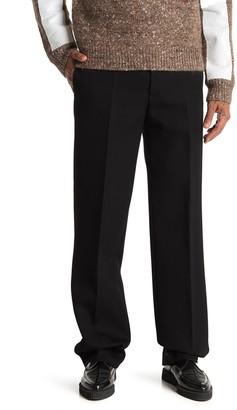 Helmut Lang Solid Wide Leg Wool Trousers