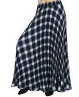"YSJ Womens Plaid Long Maxi Skirt - 37.8"" Thick 360 Sunray Pleated Full Skirt Dress (Black)"