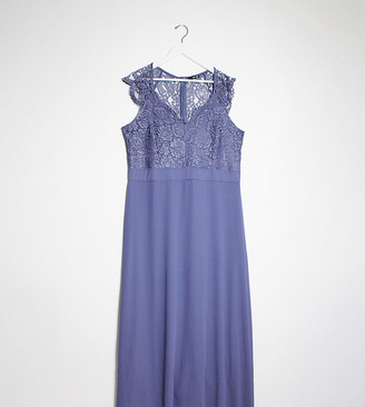 TFNC Bridesmaid Plus scalloped lace top dress