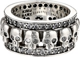 King Baby Studio Wide Band Ring w/ Skulls and CZ