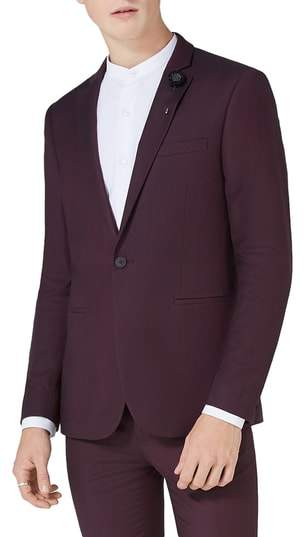 Topman Skinny Fit Plum One-Button Suit Jacket