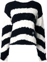 Jay Ahr flowers appliqué striped pullover