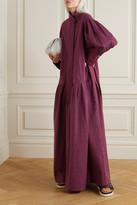 Palmer Harding Kapori Tiered Embroidered Cotton-blend Poplin Maxi Dress - Burgundy