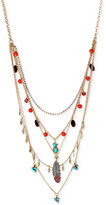 Betsey Johnson Gold-Tone Bead, Bird, and Feather Multi-Layer Necklace