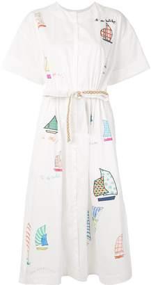 Mira Mikati Sailboat embroidered shirt dress