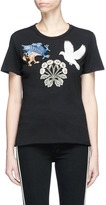 Alexander McQueen Swallow gryphon and floral appliqué T-shirt