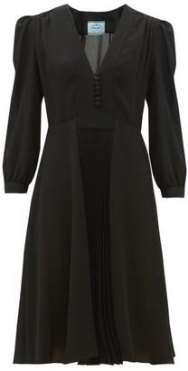 Prada V-neck Pleated Silk-crepe Dress - Black
