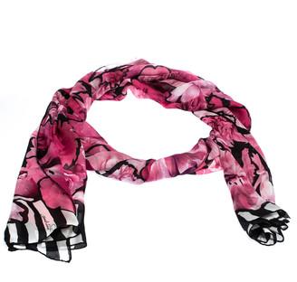 Roberto Cavalli Black & Pink Striped Floral Print Silk Scarf