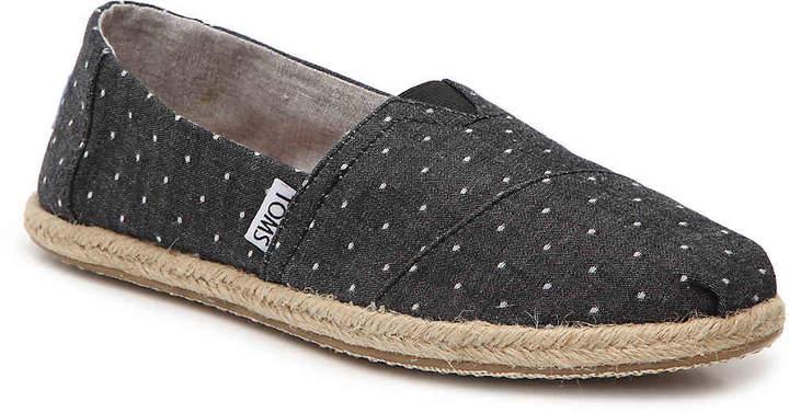 Toms Black Dot Espadrille Slip-On - Women's