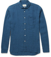 Oliver Spencer Penny-collar Checked Linen Shirt - Navy
