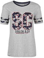 Soul Cal SoulCal Womens Floral Applique T Shirt Tee Top Stripe Print Short Sleeve