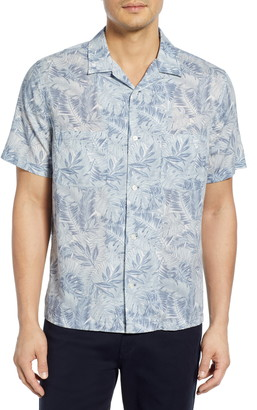 Vince California Print Cabana Slim Fit Short Sleeve Sport Shirt