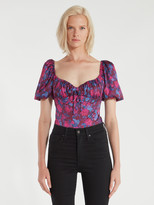 For Love & Lemons Pixie Puff Sleeve Ruched Bodysuit
