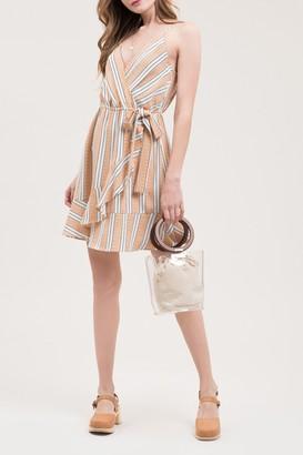 Blu Pepper Sleeveless Stripe Print Wrap Dress
