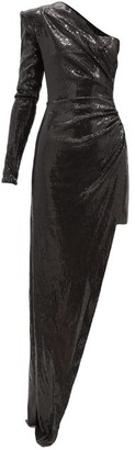 David Koma One-shoulder Asymmetric Sequinned Dress - Black