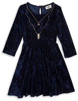 Rare Editions Girls 7-16 Textured Velvet Dress and Necklace Set