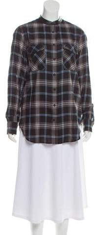Vince Leather-Trimmed Plaid Top w/ Tags