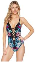 Kenneth Cole Tropical Tendencies Push-Up Lace-Up Mio One-Piece