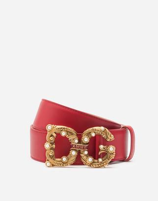 Dolce & Gabbana Calfskin Belt With Amore Logo