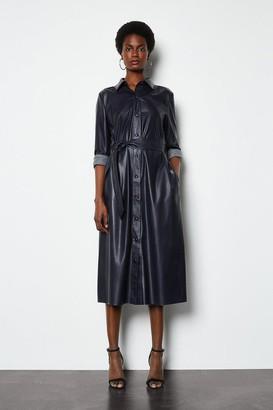 Karen Millen Faux Leather Navy Midi Shirt Dress
