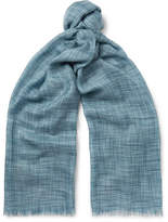 Loro Piana Fringed Herringbone Cashmere and Silk-Blend Scarf