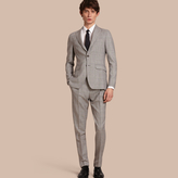 Burberry Slim Fit Prince Of Wales Check Wool Half-canvas Suit , Size: 56r, Grey