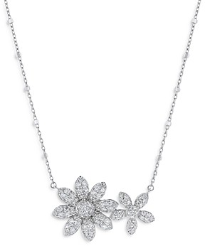 Bloomingdale's Diamond Double Flower Necklace in 14K White Gold, 1.0 ct. t.w. - 100% Exclusive
