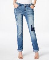 INC International Concepts Petite Patchwork Indigo Wash Boyfriend Jeans, Only at Macy's