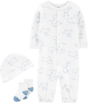 Carter's Baby Boys 3-Pc. Puppy-Print Cotton Coverall, Hat & Socks Set