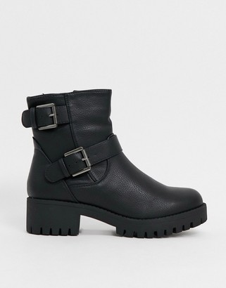 Truffle Collection faux leather buckle biker boots in black