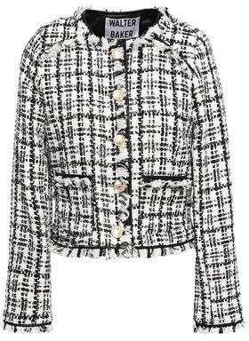 Walter Baker Baca Faux Leather-trimmed Tweed Jacket