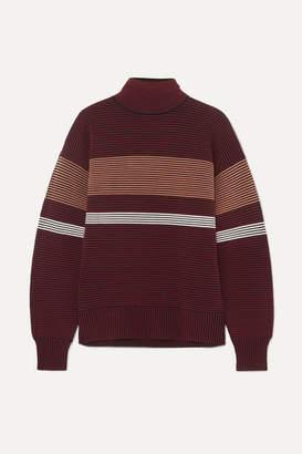 Nagnata - Striped Ribbed-knit Organic Cotton Turtleneck Sweater - Burgundy