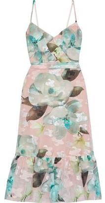Marchesa Ruffle-trimmed Floral-print Fil Coupe Organza Midi Dress
