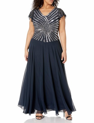 J Kara Women's Pull On Long Dress with Beads