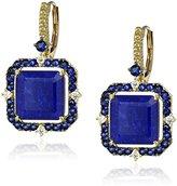 """Judith Ripka Lila"""" 18k Gold Lapis Doublet Asscher-Cut Drop Earrings (1/10cttw, G-H Color, SI1 Clarity)"""