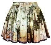 TaiYang2016 Women Girls Casual High Waist Stretch Waist Flared Pleated Mini Skirt