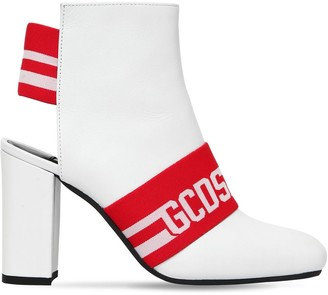GCDS 100MM LEATHER LOGO ANKLE BOOTS