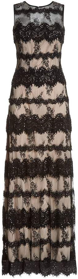 Alice + Olivia Pailey Embellished Lace Gown