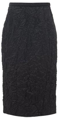 Rochas High-rise Satin-cloque Pencil Skirt - Black