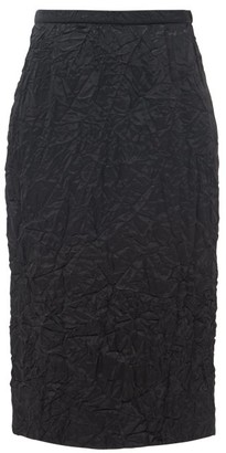 Rochas High-rise Satin-cloque Pencil Skirt - Womens - Black