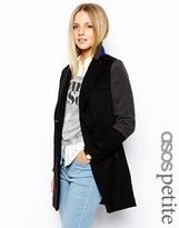 ASOS Petite ASOS PETITE Exclusive Coat With Contrast Collar - Black
