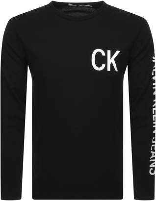 Calvin Klein Jeans Long Sleeve Logo T Shirt Black