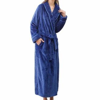 DEELIN Bath Robe Women's Dressing Gown Sleepwear Winter Warm Soft Plush Shawl Towelling Lengthened Home Clothes Shawl Long Sleeved Spa Gym Robe Coat(Blue 3XL)