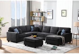 Latitude Run Arlinde 124'' Right Hand Facing Sofa & Chaise with Ottoman Fabric: Black Microfiber