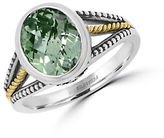 Effy 925 Sterling Silver, 18K Yellow Gold and Green Amethyst Ring