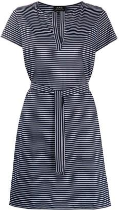 A.P.C. Striped-Print Tie-Waist Dress