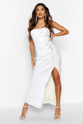 boohoo Sequin Cupped Rouche Split Maxi Dress
